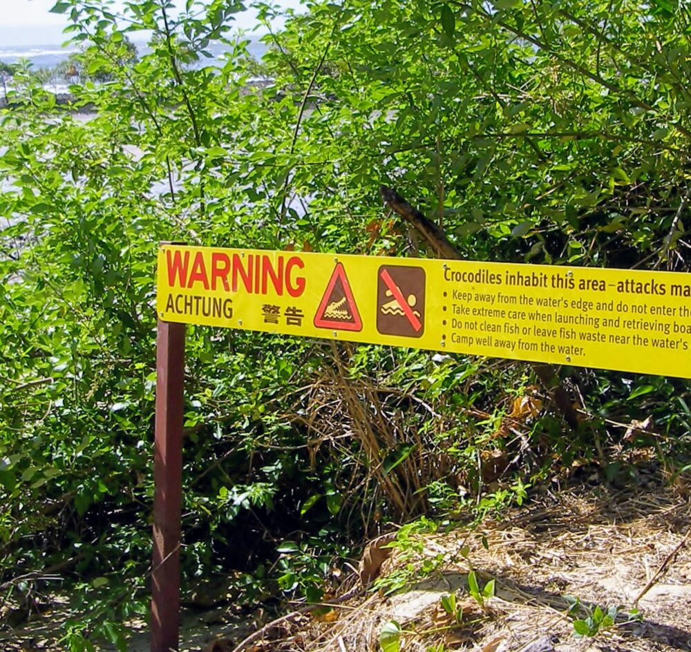 Port Douglas Inlet Crocodile Warning Sign Near The Sugar Wharf