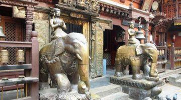 elephant statues inside kathmandu's golden temple