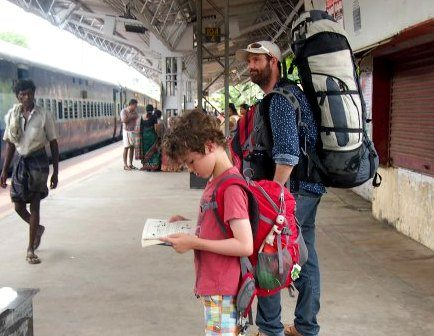 One for Dad and one for me. Backpacks or travel packs are what you need for our style of travel. India.