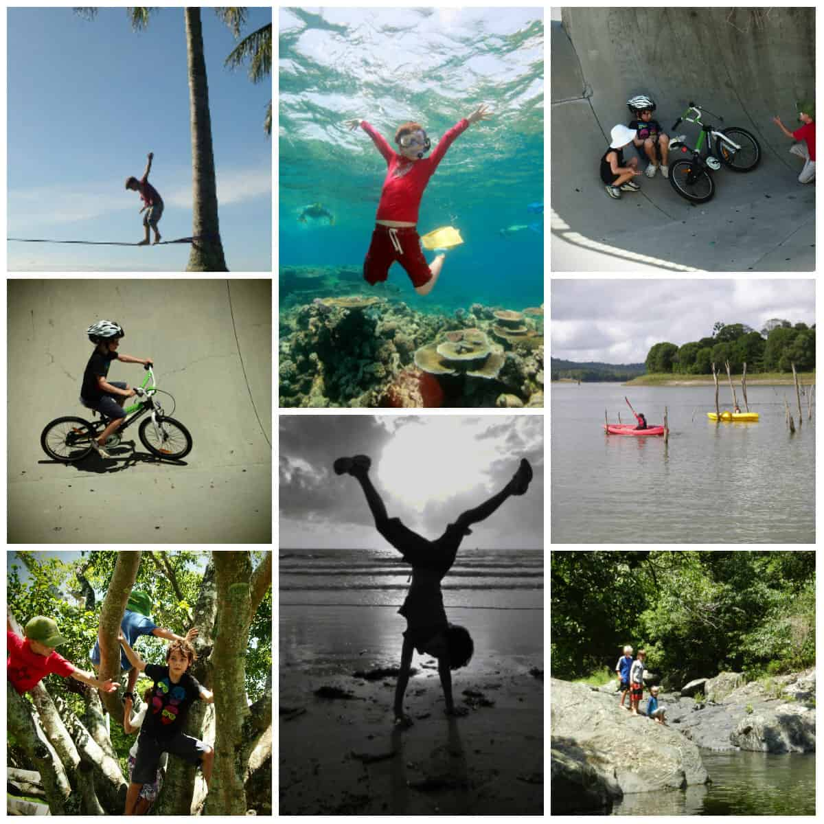 writing a homeschooling report for Queensland. This is the collage I submitted as part of his PE report.