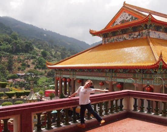 Posing for photos at Kek Lok Si temple