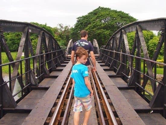 Crossing the Bridge on River Kwai Kanchanaburi