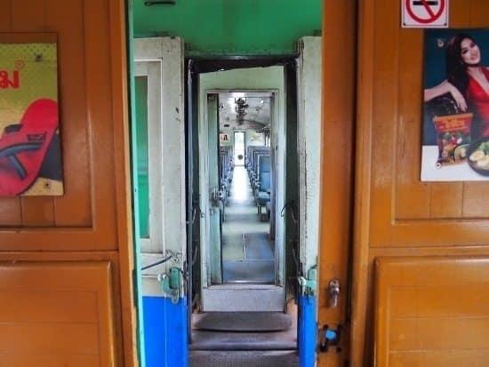 Bangkok to Kanchanaburi train. 2 carriages.