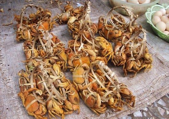 Luang Prabang Market crabs for sale