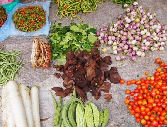 Markets of Luang Prabang Laos. Food and produce for sale.