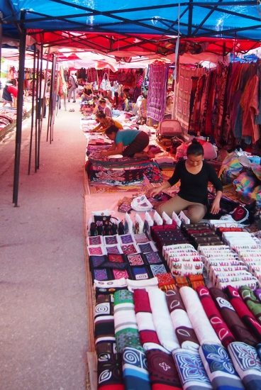 Night Market Luang Prabang Laos. Fabrics, clothes, embroidery and souvenirs.