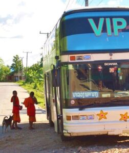 The bus from Vang Vieng to Luang Prabang, Laos. With kids!
