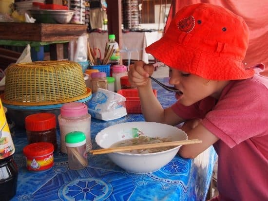 Food in Luang Prabang, Laos. Noodle soup stall