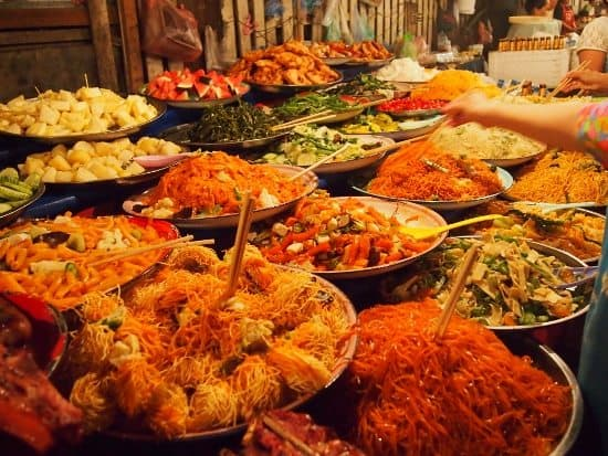 Night Market buffet Luang Prabang Laos.