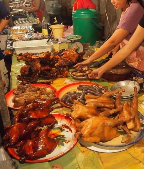 Food in the night market, Luang Prabang Laos