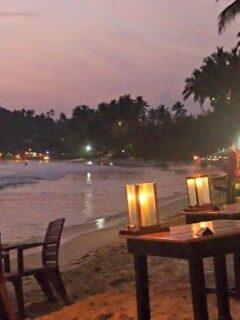 Beach restaurants and beach shacks Mirissa Beach Sri Lanka