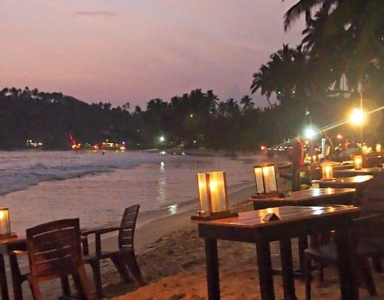 Beach restaurants and beach shacks Mirissa Beach Sri Lanka