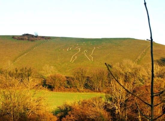 The Cerne Abbas Giant. Chalk man with errection