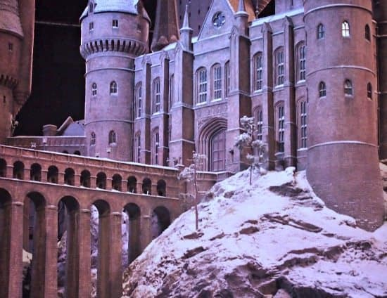 Hogwart's Castle in the snow for winter and Christmas at the Harry Potter tour UK