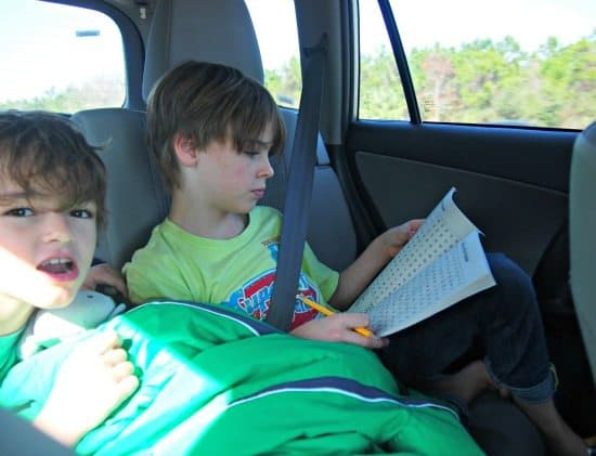 Word searches road trip with kids