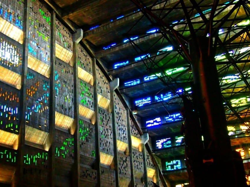 El Salvador cathedral of lights and coloured glass san salvador