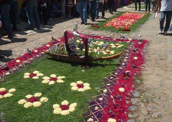 Flower and Sawdust carpet Antigua Guatemala