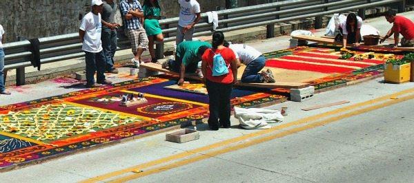 Making sawdust carpets in Antigua Guatemala