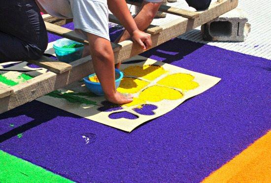 creating Sawdust Carpets in Antigua Guatemala.Holy Week