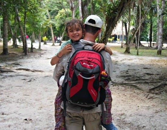 Tikal with kids. It's hot!