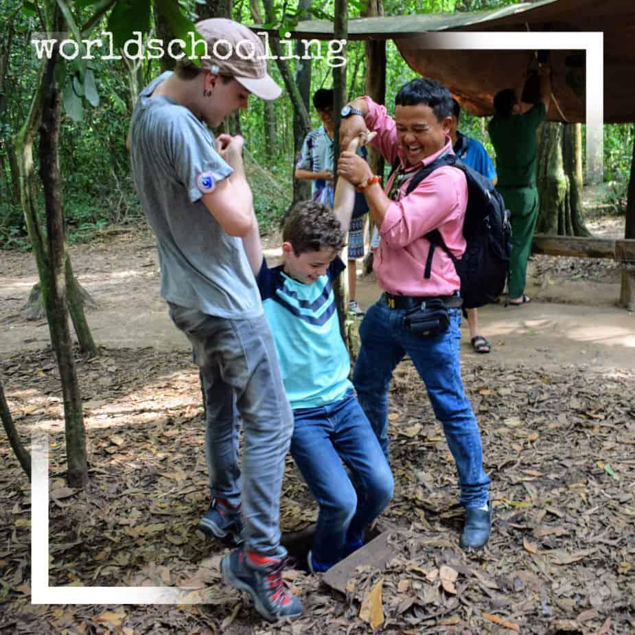 Worldschooling in Vietnam at Cu Chi Tunnels