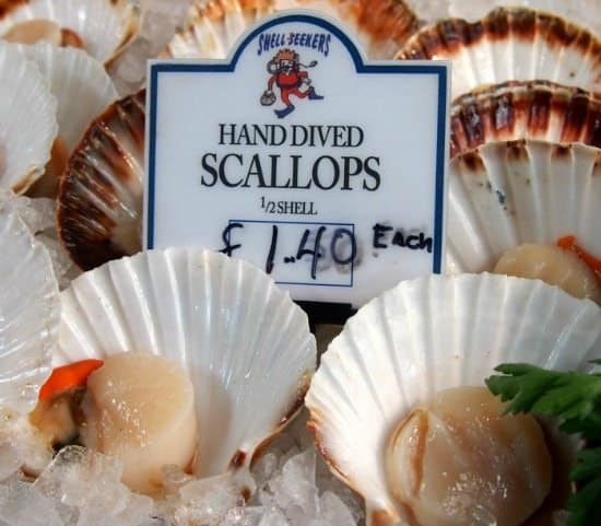hand dived scallops at London's Borough Market