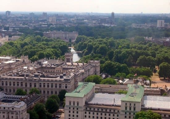 Buckingham Palace from the London Eye. World Travel Family