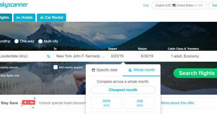How to Save Money on Flights With Skyscanner. Whole Month Search to Find Cheapest Days
