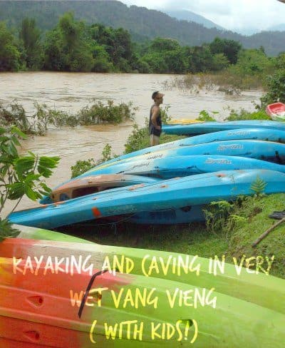 Kayaking Vang Vieng Laos family travel blog world travel family