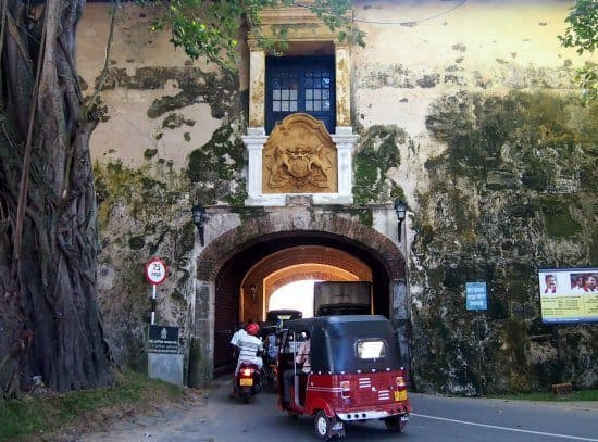 Galle Fort. Passing through the fortress walls, arriving by tuk tuk.