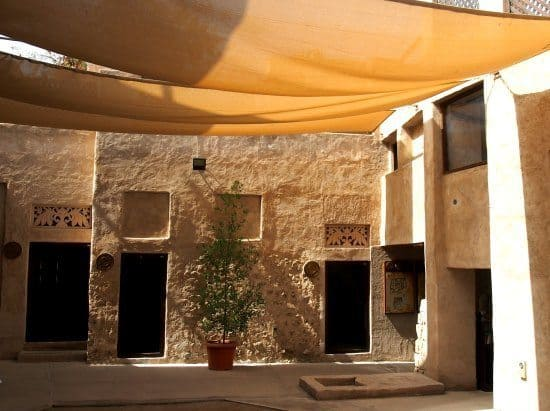 A shady central courtyard in a traditional Emirati home. This one is now a coin museum.