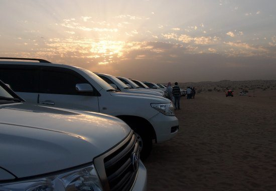 Four Wheel Drive Desert Safari Vehicles at Desert Camp Dubai