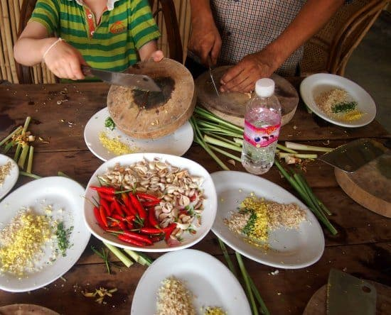 Homeschooling while traveling. Khmer cooking course in Battambang Cambodia