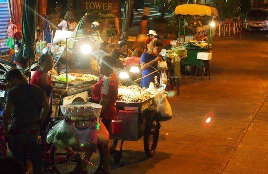 Silom Bangkok. Eating bugs.