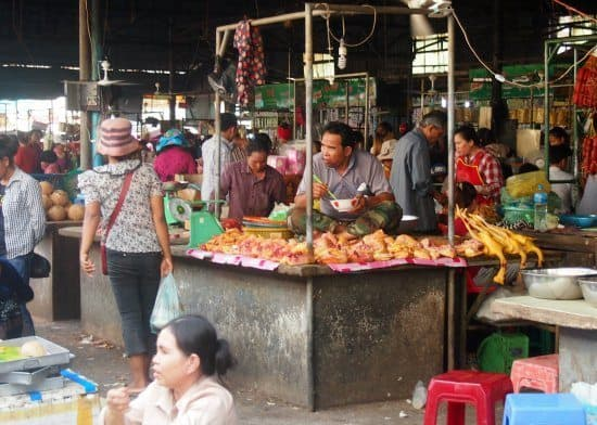 meat section at a cambodian food market