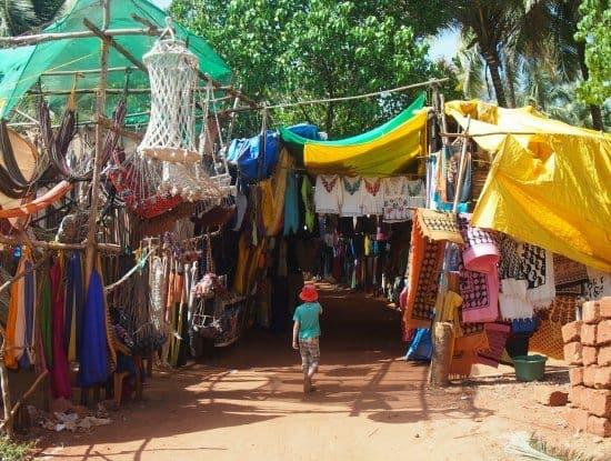 Market stalls Anjuna Beach Goa