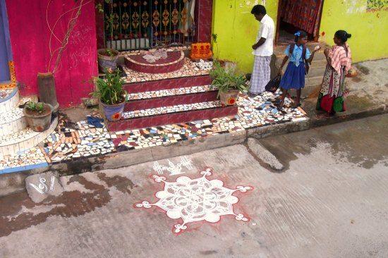 chalk designs outside houses clean mamallapuram