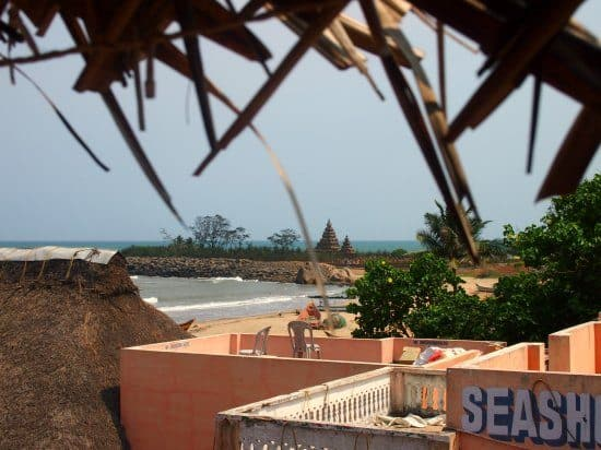 Shore Temple from roof of Sea Waves Guest House Mamallapuram