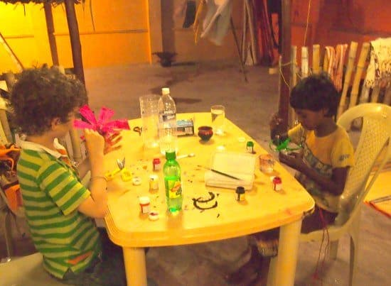 Homschooling while traveling. Traveling homeschoolers in India.