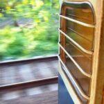 Train travel in India with children. Open doors.
