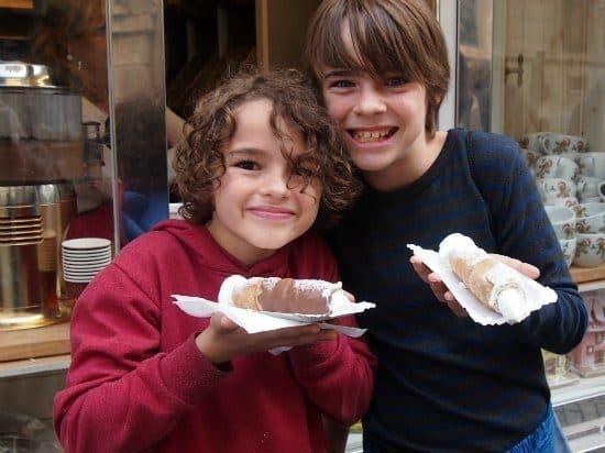 Prague for kids. chocolate coated cream filled ginger bread in Prague, Czech Republic