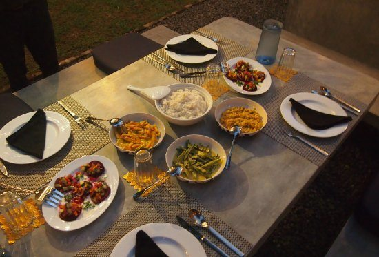 Dinner at the Templeberg Villa Galle, Sri Lanka. A vegetarian east.