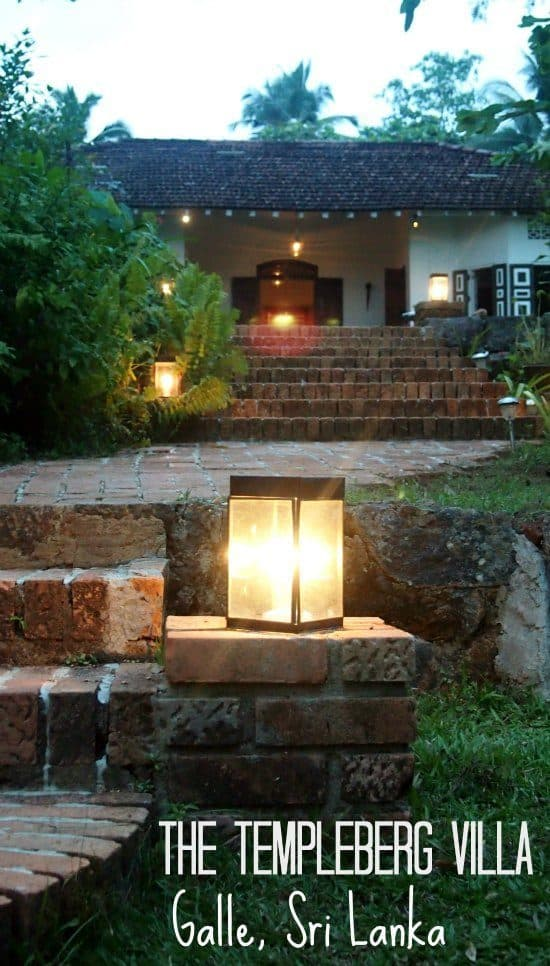 As evening falls the Templeberg Villa lights up. Beautiful colonial accomodation, Gale, Sri Lanka