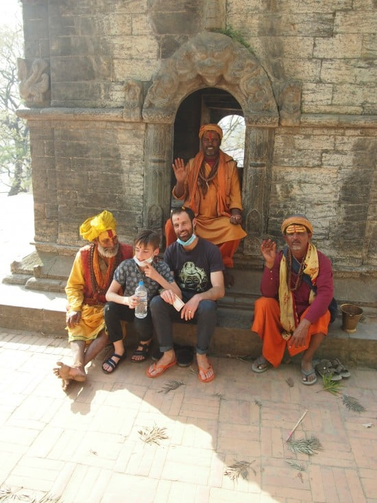Nepal with kids, Kathmandu with kids. Sadhus at Pashupatinath