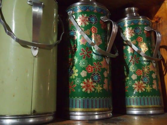 Giant tea flasks on Everest trek Nepal