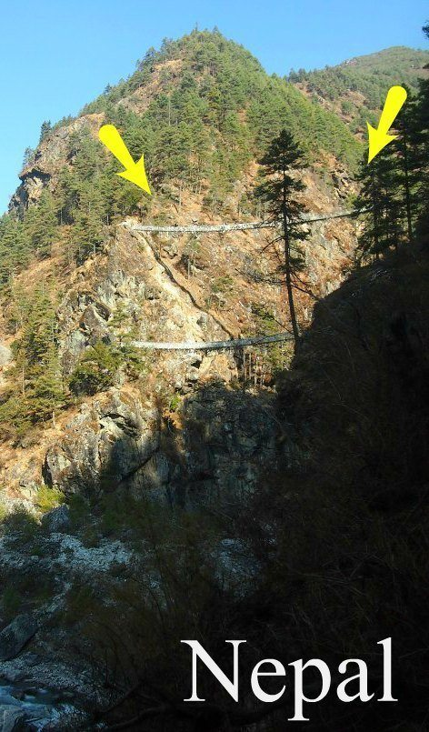 Trekking or hiking in Nepal. Some of the bridges are way beyond scary. This one is on the EBC, Everest Base Camp route, just before Namche Bazar, see more in this post.