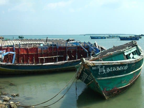 Ferry boats north of Jaffna, the only way to reach the island temples. Jaffna Sri Lanka