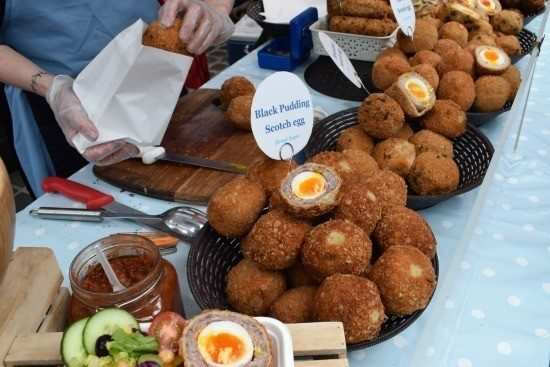 Greenwich Market Food, Scotch Eggs food stall, every imagineable Scotch Egg
