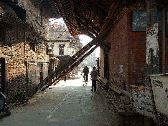 earthquake damage patan durbar square kathmandu nepal