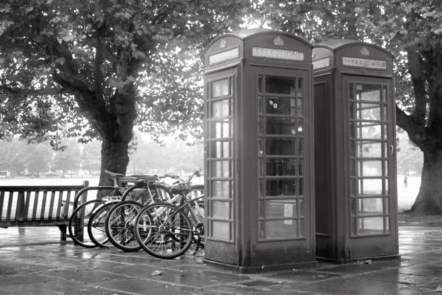 Richmond Green London UK with phone boxes